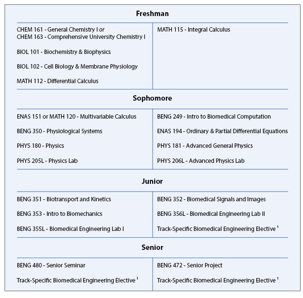 Biomedical Engineering set of subjects college calculus ii